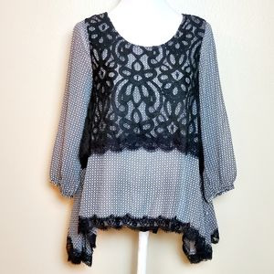 Esley Lace Overlay Blouse Long Sleeves NWT